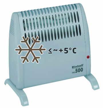 Einhell Frostwächter FW 500 (500 Watt, Mica Heizelement, stufenloses Thermostat, Stand- oder Wandgerät, Frostschutz) - 4