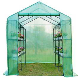 homcom 5662-0110 Gewächshaus Treibhaus Tomatenhaus Pflanzenhaus Frühbeet mit Regalböden, 244 x 182 x 213 cm - 1