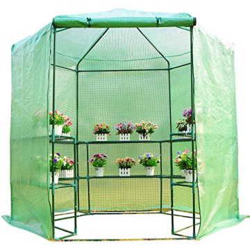 Outsunny Gewächshaus Treibhaus Tomatenhaus Pflanzenhaus Frühbeet 3 Regalfächer Sechseck Durchmesser 194 x 225 cm, grün - 2