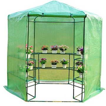 Outsunny Gewächshaus Treibhaus Tomatenhaus Pflanzenhaus Frühbeet 3 Regalfächer Sechseck Durchmesser 194 x 225 cm, grün - 1