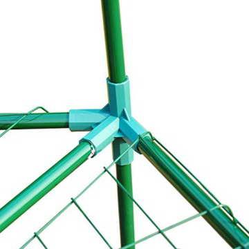 Outsunny Gewächshaus Treibhaus Tomatenhaus Pflanzenhaus Frühbeet 3 Regalfächer Sechseck Durchmesser 194 x 225 cm, grün - 5