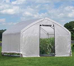 ShelterLogic Foliengewächshaus, Gewächshaus, Tomatenhaus 13,8m² // 370x300x270 cm (BxTxH) // Folienhaus & Folienzelt - 1