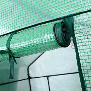 Songmics Foliengewächshäuser Tomatenhaus mit 130 g/m² PE 143 x 143 x 195 cm GWP12L - 5