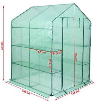 Songmics Foliengewächshäuser Tomatenhaus mit 130 g/m² PE 143 x 143 x 195 cm GWP12L - 2