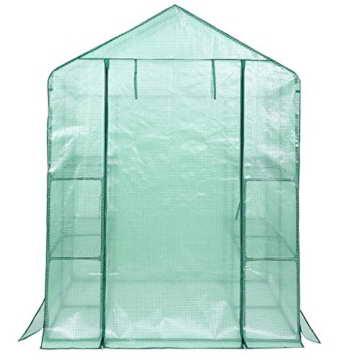 Songmics Foliengewächshäuser Tomatenhaus mit 130 g/m² PE 143 x 143 x 195 cm GWP12L - 3