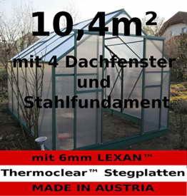 10,4m² PROFI ALU Gewächshaus Glashaus Treibhaus inkl. Stahlfundament u. 4 Fenster, mit 6mm Hohlkammerstegplatten - (Platten MADE IN AUSTRIA/EU) von AS-S - 1