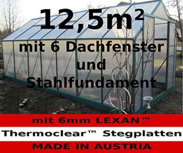 12,5m² PROFI ALU Gewächshaus Glashaus Treibhaus inkl. Stahlfundament u. 6 Fenster, mit 6mm Hohlkammerstegplatten - (Platten MADE IN AUSTRIA) von AS-S - 1