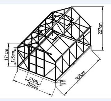 9m² PROFI ALU Gewächshaus Glashaus Treibhaus inkl. Stahlfundament u. 4 Fenster, mit 6mm Hohlkammerstegplatten - (Platten MADE IN AUSTRIA) inkl. 2 autom. Fensteröffner von AS-S - 2