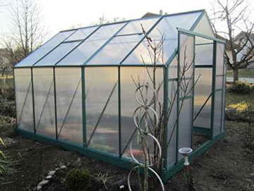 9m² PROFI ALU Gewächshaus Glashaus Treibhaus inkl. Stahlfundament u. 4 Fenster, mit 6mm Hohlkammerstegplatten - (Platten MADE IN AUSTRIA) inkl. 2 autom. Fensteröffner von AS-S - 4