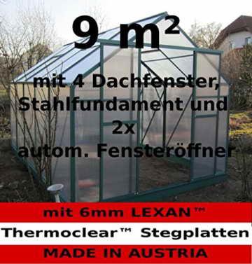 9m² PROFI ALU Gewächshaus Glashaus Treibhaus inkl. Stahlfundament u. 4 Fenster, mit 6mm Hohlkammerstegplatten - (Platten MADE IN AUSTRIA) inkl. 2 autom. Fensteröffner von AS-S - 1