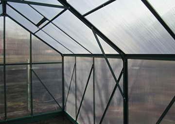 9m² PROFI ALU Gewächshaus Glashaus Treibhaus inkl. Stahlfundament u. 4 Fenster, mit 6mm Hohlkammerstegplatten - (Platten MADE IN AUSTRIA) inkl. 2 autom. Fensteröffner von AS-S - 5