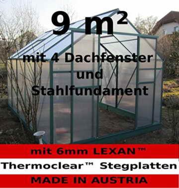 9m² PROFI ALU Gewächshaus Glashaus Treibhaus inkl. Stahlfundament u. 4 Fenster, mit 6mm Hohlkammerstegplatten - (Platten MADE IN AUSTRIA/EU) von AS-S - 1