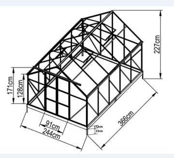 9m² PROFI ALU Gewächshaus Glashaus Treibhaus inkl. Stahlfundament u. 4 Fenster, mit 6mm Hohlkammerstegplatten - (Platten MADE IN AUSTRIA/EU) von AS-S - 2