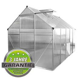 ALU Gewächshaus 4,75 m² 5,9m² Garten Treibhaus Frühbeet Fenster und Dachrinne Bodenrahmen (ohne Bodenrahmen, 4.75 m²) - 1