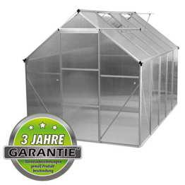 ALU Gewächshaus 4,75 m² 5,9m² Garten Treibhaus Frühbeet Fenster und Dachrinne Bodenrahmen (ohne Bodenrahmen, 5.9 m²) - 1