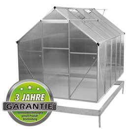 ALU Gewächshaus 4,75 m² 5,9m² Garten Treibhaus Frühbeet Fenster und Dachrinne Bodenrahmen (mit Bodenrahmen, 5.9 m²) - 1