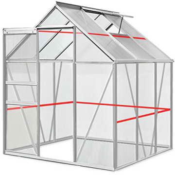 Aluminium Gewächshaus 5,85m³ / 7,6m³ Alu Gartenhaus Treibhaus Frühbeet - 4
