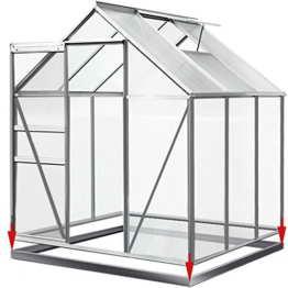 Gewächshaus Alu 5,85m³ mit Fundament Treibhaus Gartenhaus Frühbeet Pflanzenhaus Aufzucht 190x195cm - 1