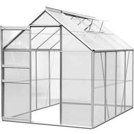 Gewächshaus Alu 7,6 m³ Treibhaus Gartenhaus Frühbeet Pflanzenhaus Aufzucht 250x190cm - 1