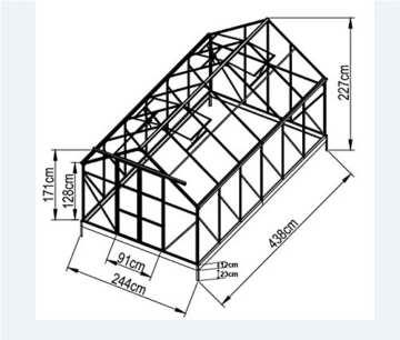 Komplettset: 10,4m² PROFI ALU Gewächshaus Glashaus Treibhaus inkl. Stahlfundament u. 4 Fenster, mit 6mm Hohlkammerstegplatten - (Platten MADE IN AUSTRIA/EU) inkl. 4 autom. Fensteröffner von AS-S - 2