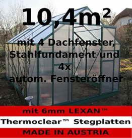 Komplettset: 10,4m² PROFI ALU Gewächshaus Glashaus Treibhaus inkl. Stahlfundament u. 4 Fenster, mit 6mm Hohlkammerstegplatten - (Platten MADE IN AUSTRIA/EU) inkl. 4 autom. Fensteröffner von AS-S - 1