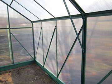 Komplettset: 10,4m² PROFI ALU Gewächshaus Glashaus Treibhaus inkl. Stahlfundament u. 4 Fenster, mit 6mm Hohlkammerstegplatten - (Platten MADE IN AUSTRIA/EU) inkl. 4 autom. Fensteröffner von AS-S - 4