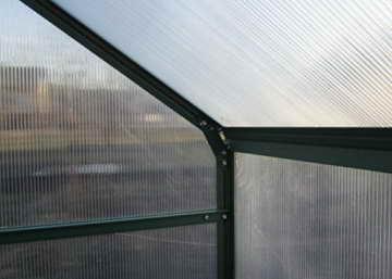 Komplettset: 10,4m² PROFI ALU Gewächshaus Glashaus Treibhaus inkl. Stahlfundament u. 4 Fenster, mit 6mm Hohlkammerstegplatten - (Platten MADE IN AUSTRIA/EU) inkl. 4 autom. Fensteröffner von AS-S - 5