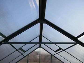 Komplettset: 10,4m² PROFI ALU Gewächshaus Glashaus Treibhaus inkl. Stahlfundament u. 4 Fenster, mit 6mm Hohlkammerstegplatten - (Platten MADE IN AUSTRIA/EU) inkl. 4 autom. Fensteröffner von AS-S - 6