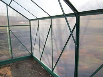 Komplettset: 10,4m² PROFI ALU Gewächshaus Glashaus Treibhaus inkl. Stahlfundament u. 4 Fenster, mit 6mm Hohlkammerstegplatten - (Platten MADE IN AUSTRIA/EU) inkl. 4 autom. Fensteröffner von AS-S - 8