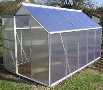 KOMPLETTSET: 6,06m² ALU Aluminium Gewächshaus Glashaus Tomatenhaus, 6mm Hohlkammerstegplatten - (Platten MADE IN AUSTRIA/EU) m. Stahlfundament, 1 Fenster mit autom. Fensteröffner von AS-S - 2