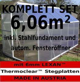 KOMPLETTSET: 6,06m² ALU Aluminium Gewächshaus Glashaus Tomatenhaus, 6mm Hohlkammerstegplatten - (Platten MADE IN AUSTRIA/EU) m. Stahlfundament, 1 Fenster mit autom. Fensteröffner von AS-S - 1