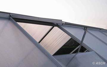 KOMPLETTSET: 6,06m² ALU Aluminium Gewächshaus Glashaus Tomatenhaus, 6mm Hohlkammerstegplatten - (Platten MADE IN AUSTRIA/EU) m. Stahlfundament, 1 Fenster mit autom. Fensteröffner von AS-S - 5