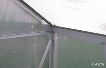 KOMPLETTSET: 7,05m² ALU Aluminium Gewächshaus Glashaus Tomatenhaus, 6mm Hohlkammerstegplatten - (Platten MADE IN AUSTRIA/EU) m. Stahlfundament, 2 Fenster mit 2 autom. Fensteröffner von AS-S - 7