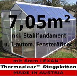 KOMPLETTSET: 7,05m² ALU Aluminium Gewächshaus Glashaus Tomatenhaus, 6mm Hohlkammerstegplatten - (Platten MADE IN AUSTRIA/EU) m. Stahlfundament 2 Fenster und 1 autom. Fensteröffner von AS-S - 1