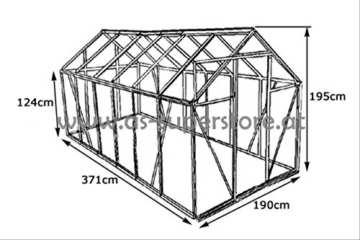 KOMPLETTSET: 7,05m² ALU Aluminium Gewächshaus Glashaus Tomatenhaus, 6mm Hohlkammerstegplatten - (Platten MADE IN AUSTRIA/EU) m. Stahlfundament 2 Fenster und 1 autom. Fensteröffner von AS-S - 4