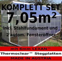 KOMPLETTSET: 7,05m² ALU Aluminium Gewächshaus Glashaus Tomatenhaus, 6mm Hohlkammerstegplatten - (Platten MADE IN AUSTRIA/EU) m. Stahlfundament, 2 Fenster mit 2 autom. Fensteröffner von AS-S - 1