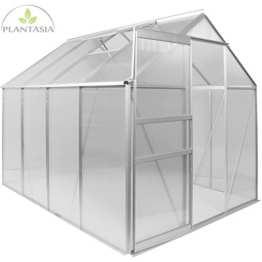 PLANTASIA® 4,75 m² Alu Gewächshaus, 4 mm Hohlkammerplatten, Firsthöhe 195 cm, 250cm x 190cm (LxB), mit Fenster, Aufbauvideo - 1