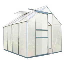 Zelsius - Aluminium Gewächshaus, Garten Treibhaus in verschiedenen Größen, mit Hohlkammerstegplatten, wahlweise mit Stahl-Fundament-Rahmen (190 x 250 cm - 6 mm Platten, ohne Fundament) - 1