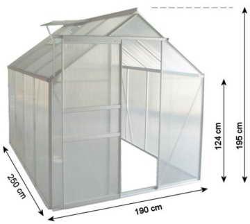 Zelsius - Aluminium Gewächshaus, Garten Treibhaus in verschiedenen Größen, mit Hohlkammerstegplatten, wahlweise mit Stahl-Fundament-Rahmen (190 x 250 cm - 6 mm Platten, ohne Fundament) - 2