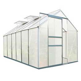 Zelsius - Aluminium Gewächshaus, Garten Treibhaus in verschiedenen Größen, mit Hohlkammerstegplatten, wahlweise mit Stahl-Fundament-Rahmen (190 x 380 cm - 6 mm Platten, ohne Fundament) - 1