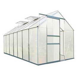 Zelsius - Aluminium Gewächshaus, Garten Treibhaus in verschiedenen Größen, mit Hohlkammerstegplatten, wahlweise mit Stahl-Fundament-Rahmen (190 x 430 cm - 6 mm Platten, ohne Fundament) - 1