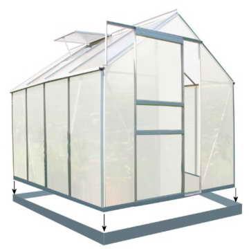 Zelsius - Aluminium Gewächshaus, Garten Treibhaus in verschiedenen Größen, mit Hohlkammerstegplatten, wahlweise mit Stahl-Fundament-Rahmen (190 x 250 cm - 4 mm Platten, mit Fundament) - 1