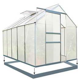 Zelsius - Aluminium Gewächshaus, Garten Treibhaus in verschiedenen Größen, mit Hohlkammerstegplatten, wahlweise mit Stahl-Fundament-Rahmen (190 x 310 cm - 6 mm Platten, mit Fundament) - 1