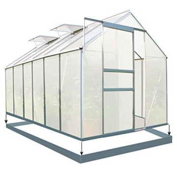 Zelsius - Aluminium Gewächshaus, Garten Treibhaus in verschiedenen Größen, mit Hohlkammerstegplatten, wahlweise mit Stahl-Fundament-Rahmen (190 x 380 cm - 6 mm Platten, mit Fundament) - 1