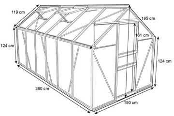 Zelsius - Aluminium Gewächshaus, Garten Treibhaus in verschiedenen Größen, mit Hohlkammerstegplatten, wahlweise mit Stahl-Fundament-Rahmen (190 x 380 cm - 6 mm Platten, mit Fundament) - 2
