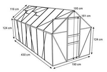Zelsius - Aluminium Gewächshaus, Garten Treibhaus in verschiedenen Größen, mit Hohlkammerstegplatten, wahlweise mit Stahl-Fundament-Rahmen (190 x 430 cm - 6 mm Platten, mit Fundament) - 2