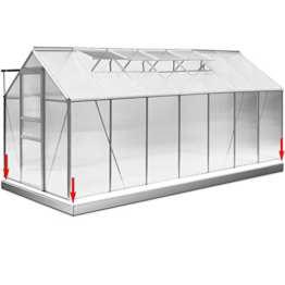 Gewächshaus 15,93 m³ Alu + Fundament Treibhaus Gartenhaus Pflanzenhaus Tomatenhaus Aufzucht Frühbeet -