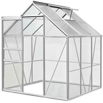 Gewächshaus Alu 3,70m² 190x195cm Treibhaus Gartenhaus Frühbeet Pflanzenhaus -