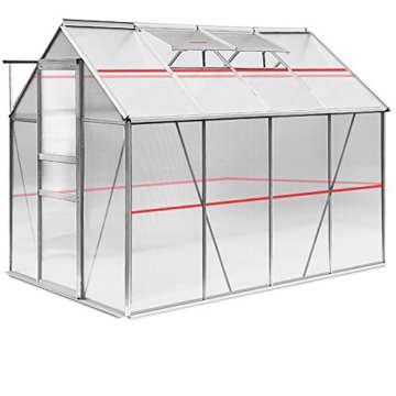 Gewächshaus Alu 7,6 m³ 250x190cm Gartenhaus Frühbeet Treibhaus Pflanzenhaus Aufzucht -