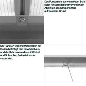 Gewächshaus Alu 7m² 280 x 250 cm Stahlfundament Treibhaus Gartenhaus Frühbeet Fundament -